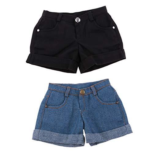 Toygogo 2 Stück 1/3 BJD Smart Doll Pants Denim & Schwarze Cuffed Shorts Für Night Lolita, Für LUTS MSD DOD Summer Dress Up Leicht Zu Tragen -