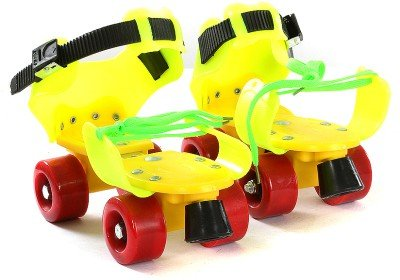 Aurion RS Adjustable Plastic Roller Skates (Red/Green/Pink/Yellow)