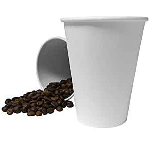 200 x 8oz White Paper Single Wall Disposable Tea Coffee Cappuccino Hot Drinks Cup UKB771