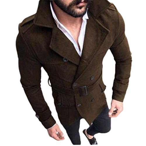 CuteRose Mens Regular Fit Double-Breasted Lapel Belted Overcoat Trench Coat Coffee S Double Breasted Coat Petite