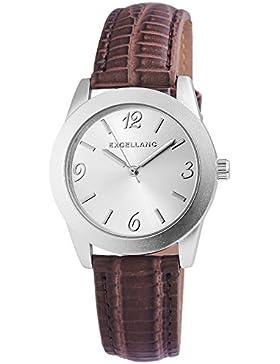 Excellanc Damen analog Armbanduhr mit Quarzwerk 195022500218 Metallgehäuse mit Kunstleder Armband in Braun und...