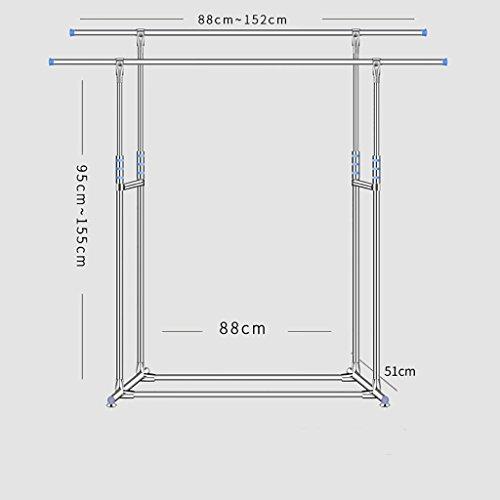 Trockengestelle Edelstahl Boden Indoor Doppelstock große Wäscheständer Balkon Wäscheständer Kleiderbügel hängen Kleidung