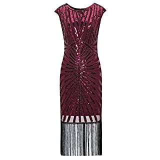 Metme Women's 1920s Classic Long Beaded Cocktail Party Dress Fringe Embellished for Cocktail Gatsby Party (S, Wine Red)
