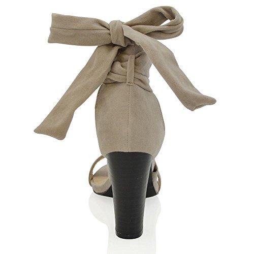 Essex Glam Scarpa Donna Tacco a Blocco Allacciatura Cinghiolo Caviglia Grigio Finto scamosciato