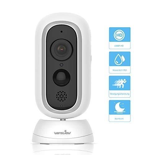 Wansview Akku Überwachungskamera, Kabellos IP Kamera 1080P HD für Indoor und Outdoor mit PIR Sensor, Zwei-Wege Audio, Nachtsicht und Micro SD Kartenslot B1 Ohne Basisstation - Digital-kameras, Audio