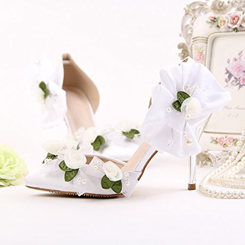 VIVIOO Prom Sandals scarpe Simple Lace Flower Bride Bride Bride scarpe Pointed High Heeled Satin Dress scarpe With Fine Pearl... | Prezzo economico  | Scolaro/Signora Scarpa  92ed3e