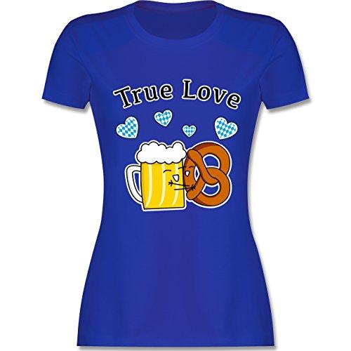 Oktoberfest Damen - True Love- Bier und Breze - tailliertes Premium T-Shirt mit Rundhalsausschnitt für Damen Royalblau