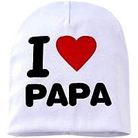 Los niños Los niños Imprimen de Punto I Love Mama Baby Hat Algodón Unisex Baby Cap Letter Kids Hat por 0-3 años - Blanco