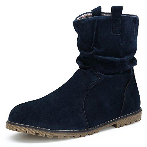 KOUDYEN Damen Stiefeletten Stiefel Boots Wildleder Flache Schlupfstiefel Freizeit Schuhe,XZ999-1-blue-EU40 (Wildleder Schuhe Flache)