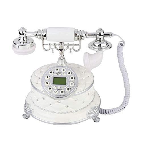 TBTUA Retro Design schnurgebundenes Festnetztelefon - Klassische Vintage Old Fashioned Style Schreibtisch Tisch Home Office Spiralkabel Hörer w/Button Dialing - Kunden-id-nummer