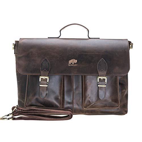 Burkley Case Bradford Vintage Leder Business Aktentasche Messenger Laptop Tasche (bis 17 Zoll Computer) Distressed Antique Coffee 17 inch -