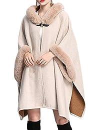 Mujer Capa Elegante Invierno Chal con Pieles Caliente Vestido Outwear Modernas Casual Espesar Manga Larga Estolas Chal De Fiesta