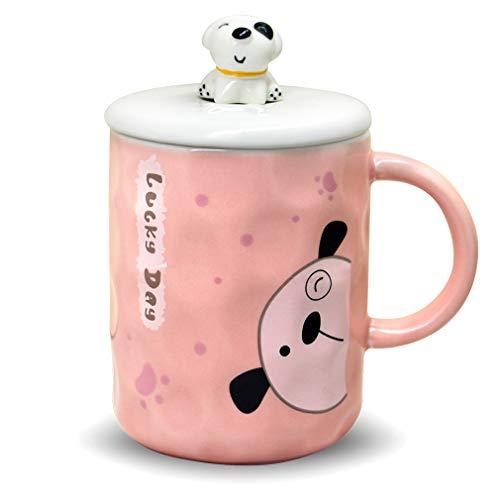 mit Deckel und 3D-Welpenkopf-Edelstahl-Löffel, Keramik-Kaffeetasse, Hunde-Tasse, Geschenk für Hunde-Liebhaber, Frauen und Mädchen, Blau, 325 ml rose ()