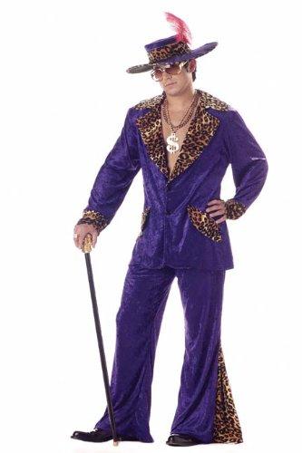 Deluxe Purple Pimp Men's 1970s Fancy Dress Outfit 70s Adult Costume + Hat Medium by California (Kostüm 1970's Pimp)