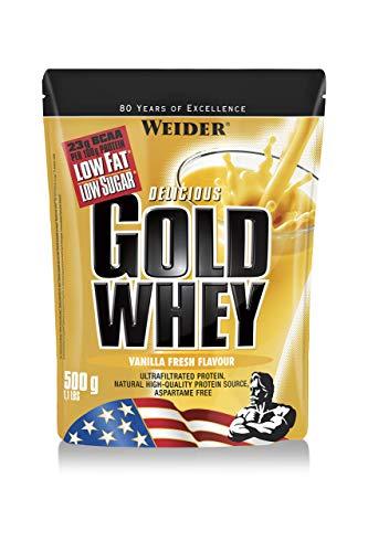 Weider Gold Whey Protein Vanille, Low Carb, Eiweißpulver für Fitness und Bodybuilding, 500g