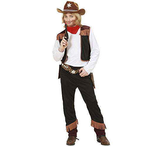 Widmann 02598 - Kinderkostüm Cowboy, Shirt mit Weste, Hose und Halstuch, Größe 158 -