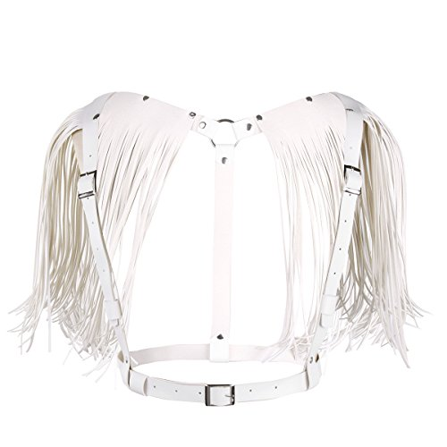 dPois Frauen Brust Harness Geschirr Chest Harness mit Quaste Wetlook Körper Geschirr Damen Leder Shirts Body Taillegürtel Clubwear in Schwarz, Weiß Weiß One_Size