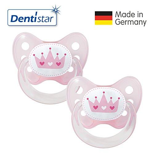 Dentistar® Latex Schnuller 2er Set inkl. 2 Schutzkappen - Nuckel Naturkautschuk Größe 1 von Geburt an, 0-6 Monate - für Babys - Krone, rosa