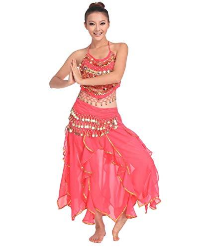 Grouptap Bollywood pink rot asiatisch indisch arabisch Jasmin Bauchtanz Kleid Kostüm 2-teilig Neckholder Top Rock Phantasie sexy Frauen Outfit (Rosa, 150-175 cm, 40-70 kg)