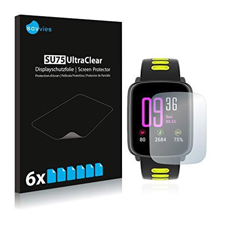 Savvies 6X Schutzfolie kompatibel mit Yamay Fitness Tracker SW018 Displayschutz-Folie Ultra-transparent