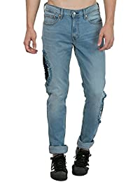 Estrolo Side Ripped And Pin-Tucked Men's Jeans