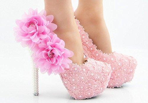 YCMDM Femmes Chaussures De Mariage De Grandes Tailles Chaussures De Beaux Chaussures Avec Chaussures Sexy Rose Ronde Poudre Fleur De Peau Bouche 14 cm with high reservation