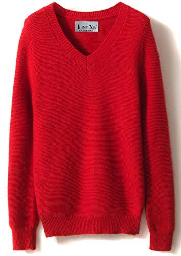 LinyXin Cashmere Damen Kaschmir Rollkragen Pullover Wolle Langarm Freizeit Winter Warm Pulli Sweater (M / 38-40, Rot)