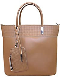 Nicoli 'Chic' designer italien sac fourre-tout en cuir épaule sac à main - brun tan
