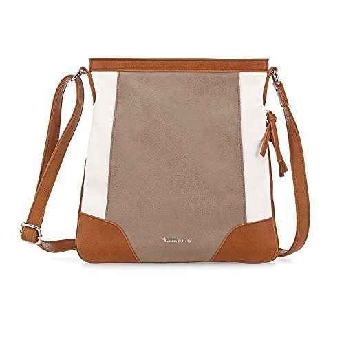 TAMARIS SHARON Damen Handtasche, Crossbody Bag, Umhängetasche, 3 Farben: rot comb., taupe comb. oder navy blau comb. Beige