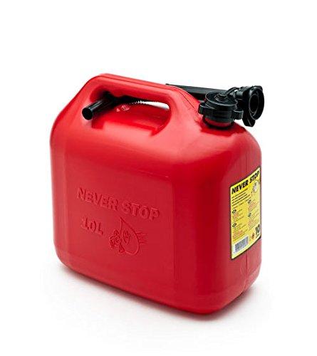 Preisvergleich Produktbild Never Stop Kraftstoffkanister Benzinkanister Reservekanister Kunststoff rot 10 Liter UN Zulassung