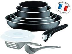 Tefal Ingenio Set, Aluminium, schwarz, 10 Stück (Nicht für Induktion geeignet)