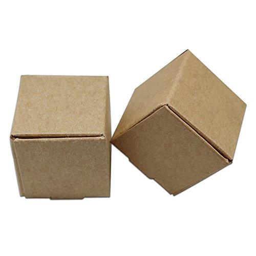 Braun Kraftpapier Faltschachtel Kleine Geschenke Schachtel Falten Kartonpapier Keks Lebensmittel Süßigkeiten Schokolade Verpackung Party Hochzeit Weihnachten Geschenken Büchse Kraft Papier Boxes 50 Stück (4.2x4.2x4.2cm (1.6x1.6x1.6 inch))