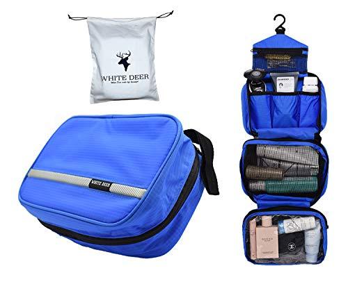 Bolsa de Aseo Cosméticos, Neceser de Impermeable y Plegable Gran Capacidad Multifuncional para Viaje, 1 Bolsa de Almacenamiento(Regalo) y 1 Neceser de Maquillaje, Dealta Calidad (Azul)