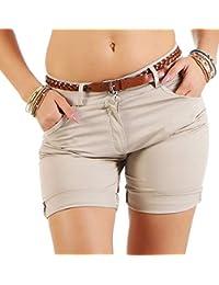 Malucas Damen Hotpants Shorts Bermuda Capri H/üfthose inkl G/ürtel 00188