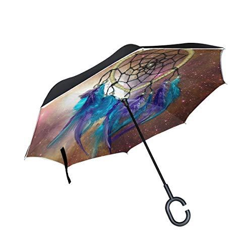 XiangHeFu - Paraguas invertido de Doble Capa para atrapasueños, diseño de Estrella Nocturna, Plegable, Resistente al Viento, protección UV, Recto Grande, para Coche, con Mango en Forma de C