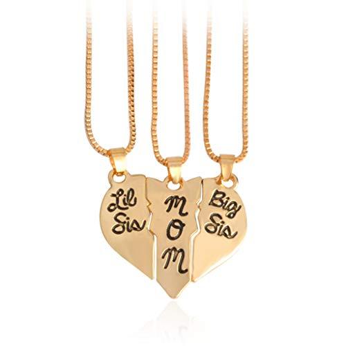 LLLucky 3 Stücke Frauen 3 Teil Herz Halskette Geschnitzte Anhänger Halsketten Gold - Mutter-töchter-halskette, 3 Stück