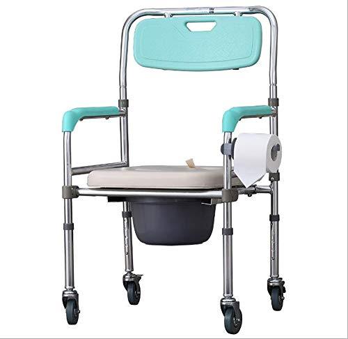 GAOJIN Silla con WC Inodoro con Ruedas y Tapa Reposapiés abatibles y reposabrazos extraiblesReposabrazos Acolchados Peso Máximo soportado 100 kg para Personas Mayores Discapacitadas