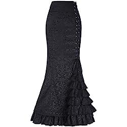 Belle Poque Negro Jacquard Mujeres Retro Sirena lápiz Falda Larga Falda de Estilo Victoriano BP000204-1_USA16