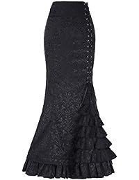 Belle Poque Mujeres Faldas Elegantes Maxi Gótica Plisada Nudos Cruz con Pliegues Victoriano