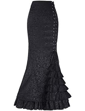 Belle poque la vendimia señoras de estilo victoriano alta cintura retro jacquard volante de cola de pescado falda...