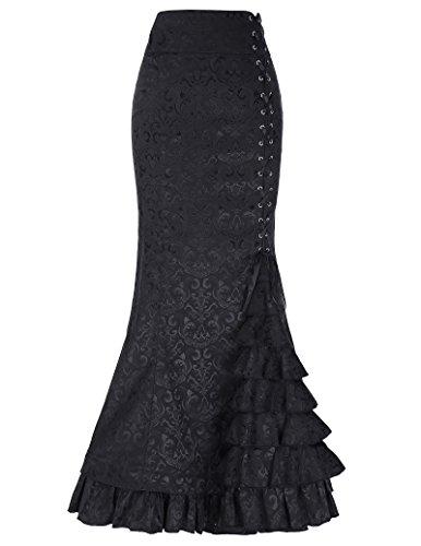 Damen Viktorianisch Gothic Jacquard Maxi Party Rock - Pirate Kostüm Mit Schwarzem Rock