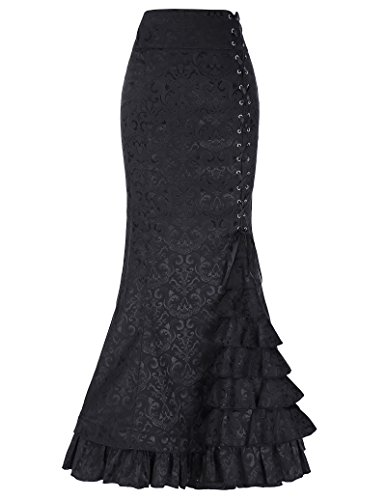 Belle Poque Vintage Pencil Skirt Stile Vittoriano Lunga Coda di Pesce Jacquard col Pizzo Gonna BP000204-1