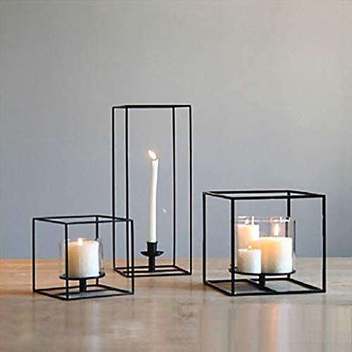 JJROUXIYUJIN Kreative Einfache Geometrische Kerzenhalter Modernen Stil Schwarzes Quadrat Eisen Kerzenhalter Weiche Dekoration Dekoration Pendel (Size : Set of Black)