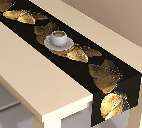 METRO-FASHION Printed Black Polyester Table Runner 30 * 150 cm