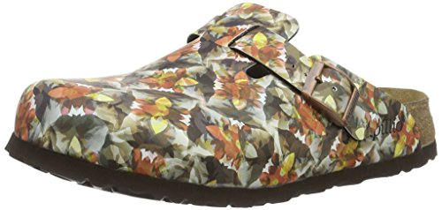 Birkenstock Boston Birko-Flor Softfootbed, Sabots Femme, Mehrfarbig (Painted Bloom Navy)