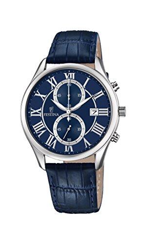 Festina Herren Chronograph Quarz Uhr mit Leder Armband F6855/2