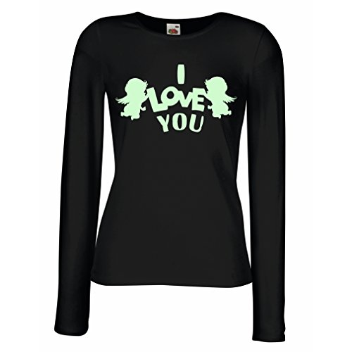 Kostüm Physik Lehrer - lepni.me Weibliche Langen Ärmeln T-Shirt St, Amor und Engel, ich Liebe Dich. (Large Schwarz Fluoreszierend)