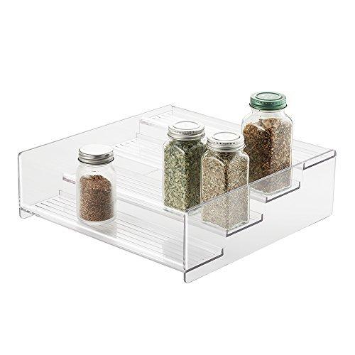 mDesign Gewürzregal für Küchenschrank - praktische Aufbewahrungsmöglichkeit für Ordnung in der Küche - 4 Ebenen, durchsichtig