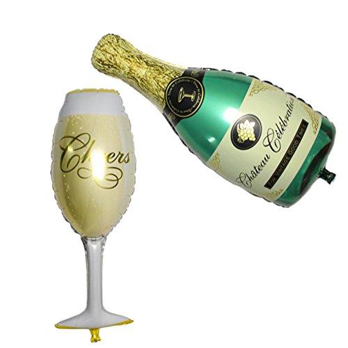 Doitsa 2 Stücke/Set Luftballon Aluminiumfolie ballon Großer Champagner und Kelch decorative balloon für Weihnachtsdekoration, Geburtstag, Hochzeit,Party
