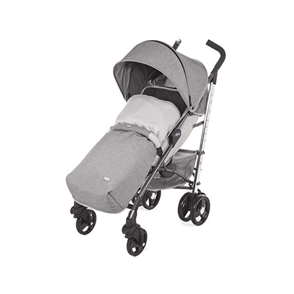 Chicco New Liteway Stroller Titanium Chicco Suitable from birth. Backrest declinable to 5 positions Complete with footmuff, extendable hood and rain cover. 1